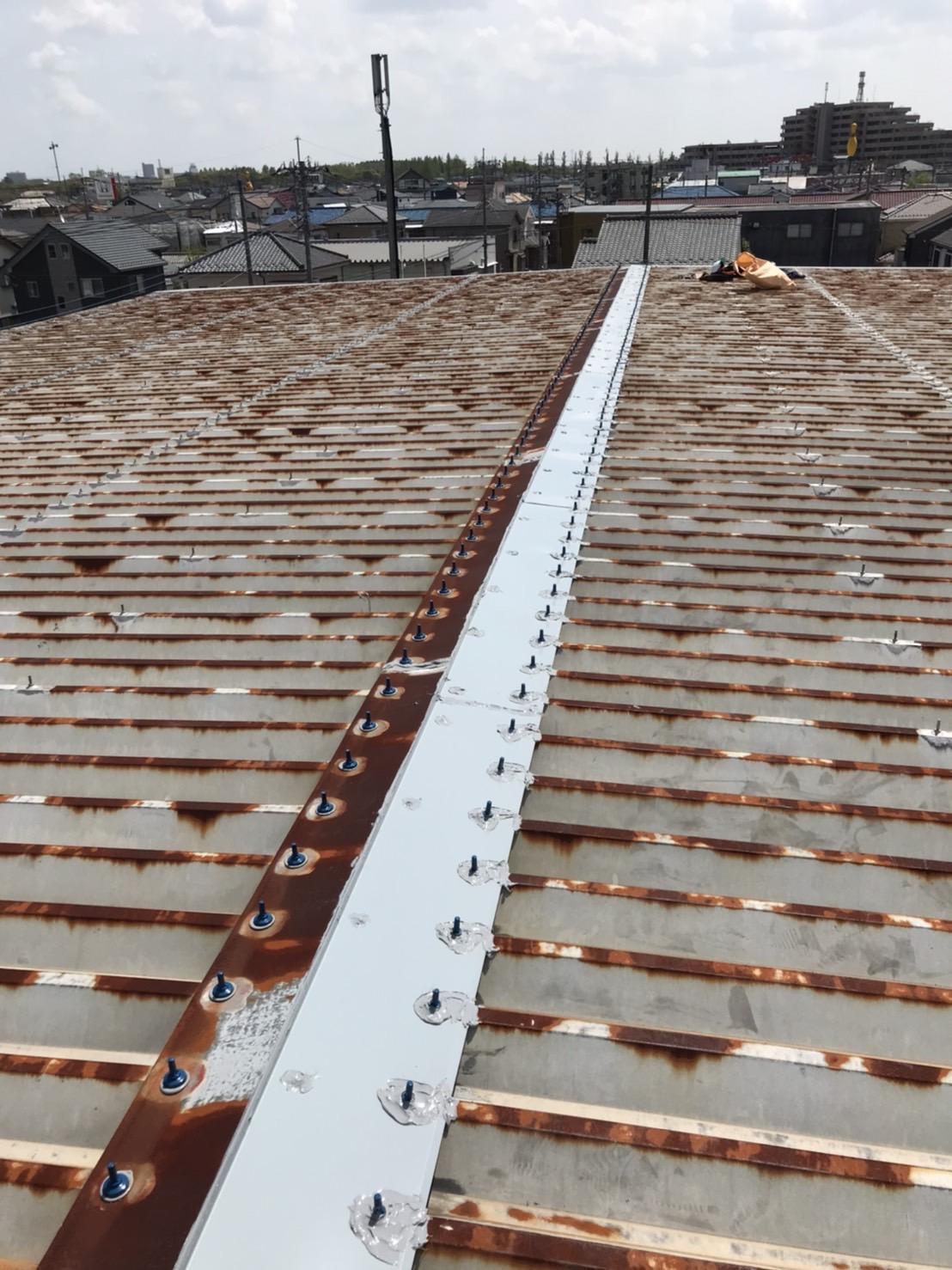 倉庫折板屋根現場調査